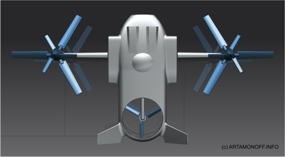 Базовая схема трикоптера конвертоплана SKYNET